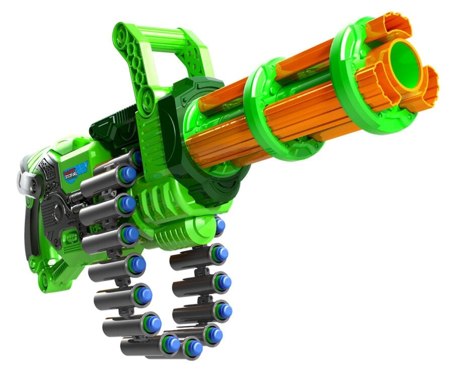Dart Zone Super Commando High Power Automatic Belt Fed Gatling Blaster with Waffle Tip Darts and Targets