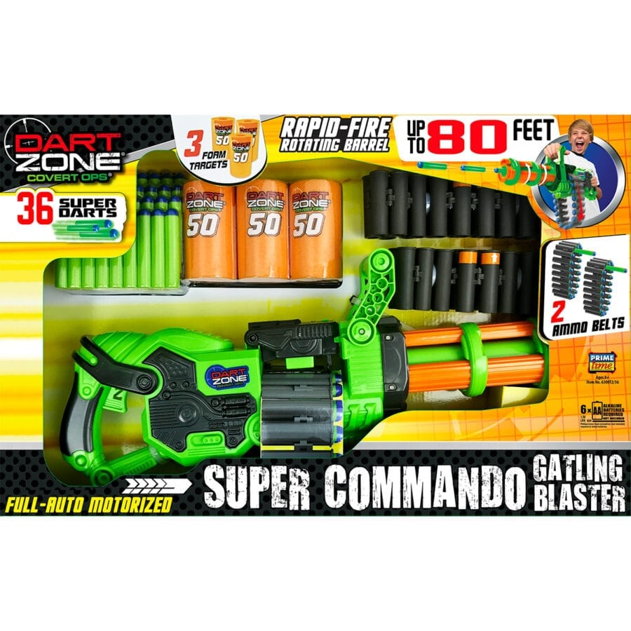 Boxed View of the Super Commando High Power Automatic Belt Fed Gatling Blaster with Waffle Tip Darts and Targets