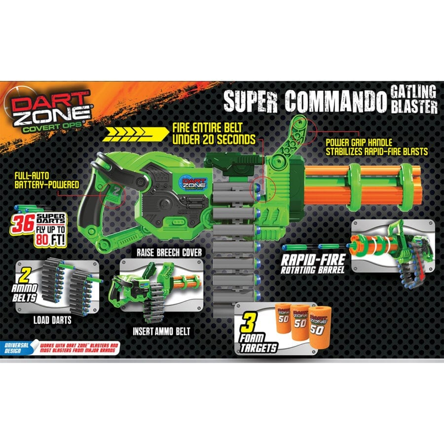 Back of the Box View of the Super Commando High Power Automatic Belt Fed Gatling Blaster with Waffle Tip Darts and Targets