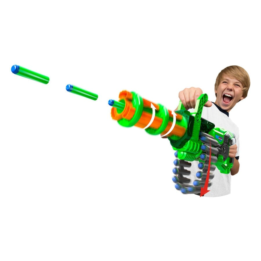 The Super Commando High Power Automatic Belt Fed Gatling Blaster with Waffle Tip Darts and Targets in Action