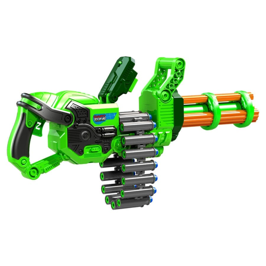 Reloading Action of the Super Commando High Power Automatic Belt Fed Gatling Blaster with Waffle Tip Darts and Targets