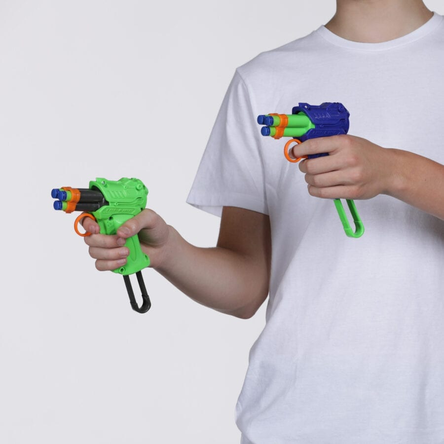 Held View of the High Power Tri-Fire Quickfire Blaster Toy Foam Waffle Tip Blaster