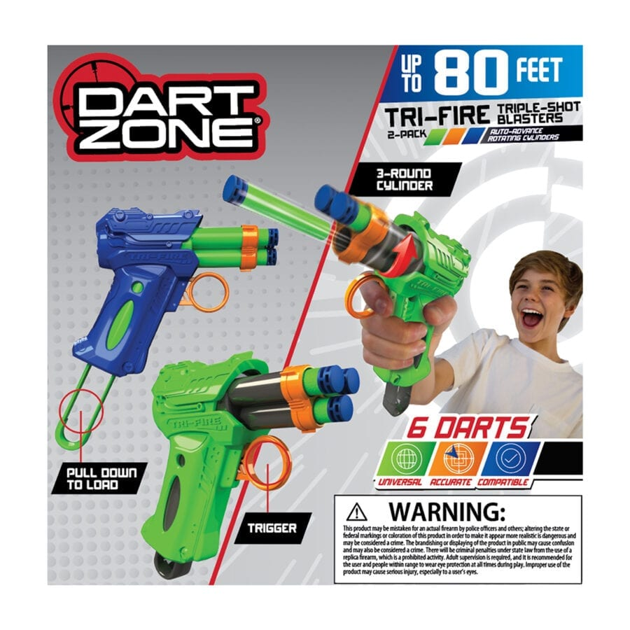 Back of the Box View of the High Power Tri-Fire Quickfire Blaster Toy Foam Waffle Tip Blaster