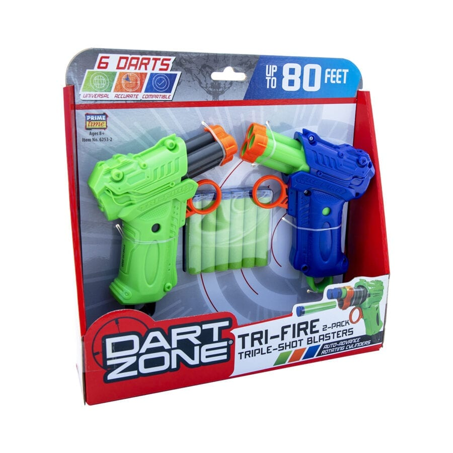 Box View of the High Power Tri-Fire Quickfire Blaster Toy Foam Waffle Tip Blaster