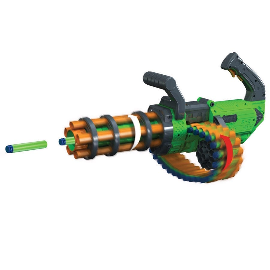 The Adventure Force V-Twin High Power Automatic Motorized Toy Foam Gatling Belt Dart Blaster in Action
