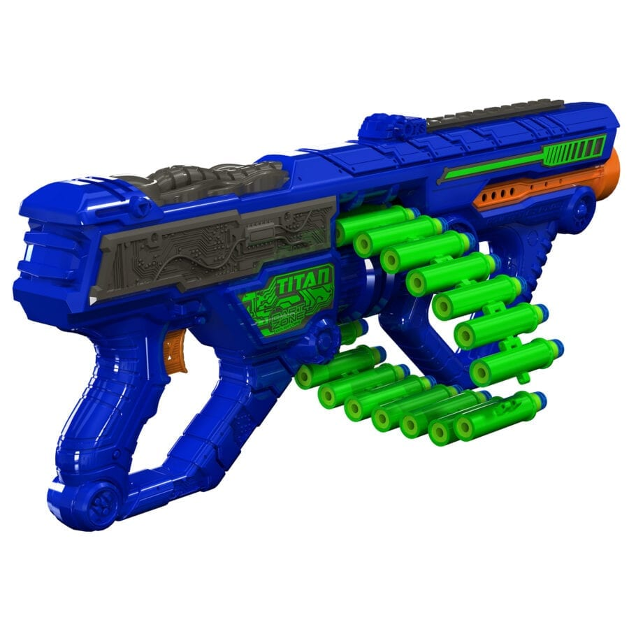 Diagonal View of the Automatic High Power Toy Foam Titan Belt Blaster
