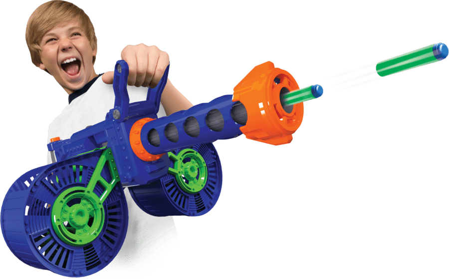 Automatic High Power Toy Foam Dart Storm® Belt Blaster in Action