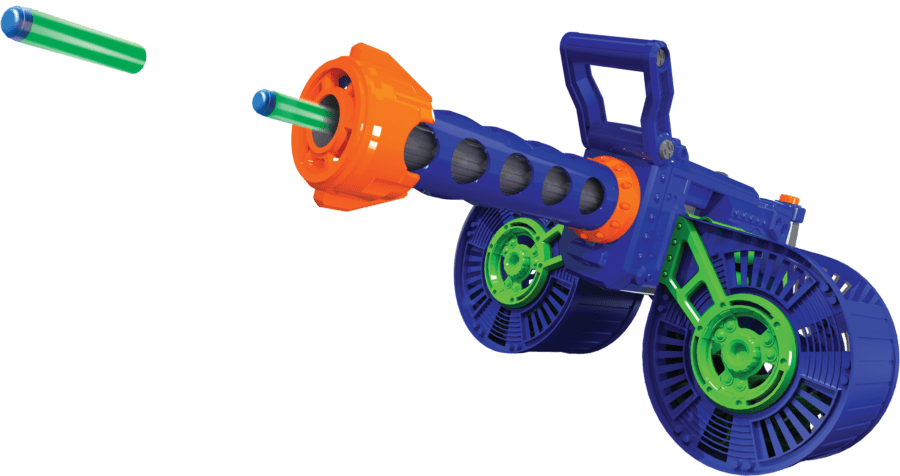 Diagonal View of the Automatic High Power Toy Foam Dart Storm® Belt Blaster Shooting Darts