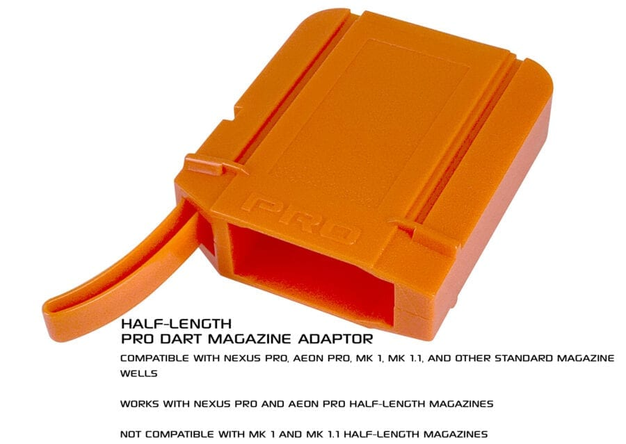 Second Diagonal View of the Nexus Pro & Aeon Pro Adapter for Half Length Magazines for High Power Toy Foam Dart Blasters