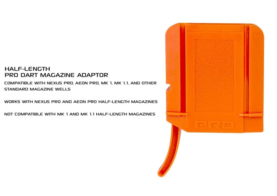 Front View of the Nexus Pro & Aeon Pro Adapter for Half Length Magazines for High Power Toy Foam Dart Blasters