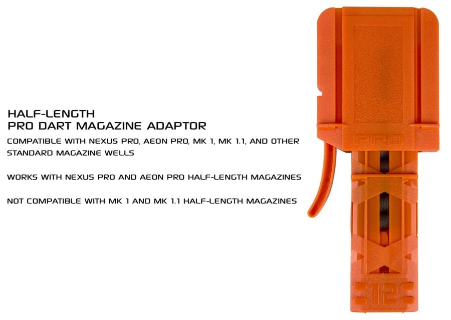 Front View for the Nexus Pro & Aeon Pro Adapter for Half Length Magazines for High Power Toy Foam Dart Blasters with Half Magazine