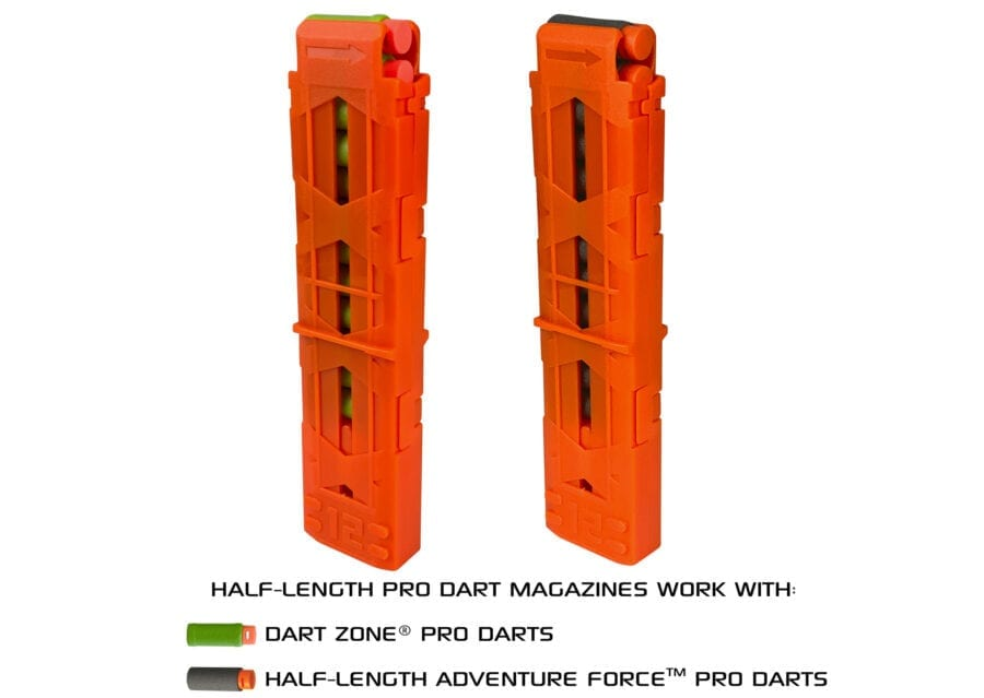 Diagonal View of the Nexus Pro and Aeon Pro Half-Length Magazine for High Power Toy Foam Blasters