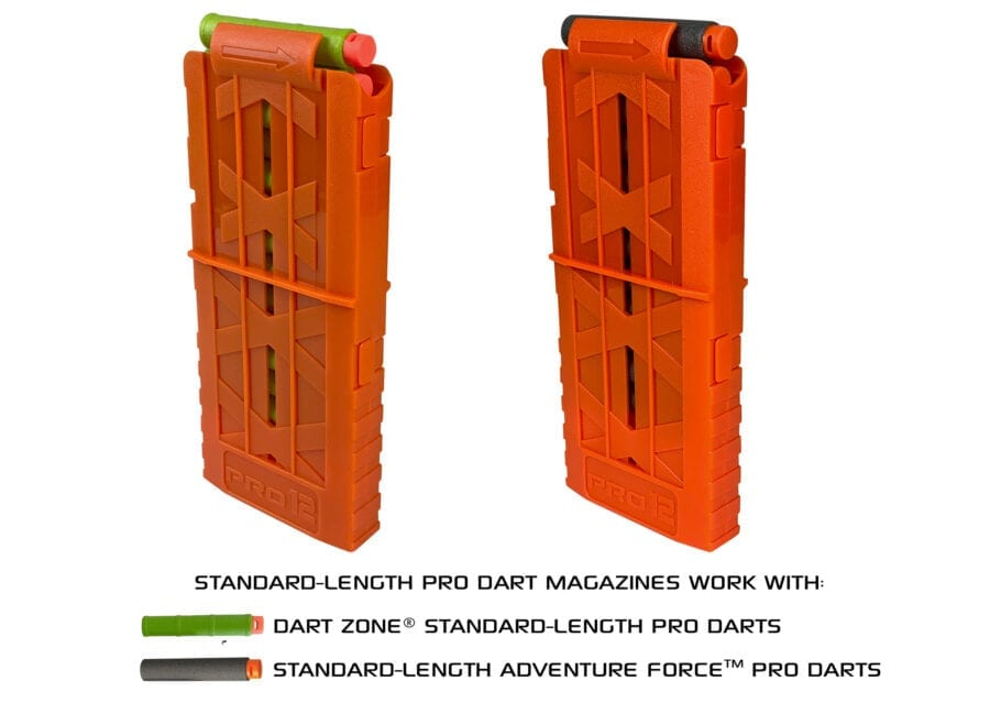 Diagonal View for the Nexus Pro and Aeon Pro Standard Length Magazine for High Power Toy Foam Blasters