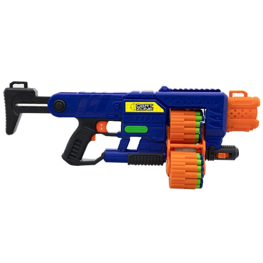 Side View of the Dart Zone Savage Spin Triple Drum Automatic Toy Foam Blaster