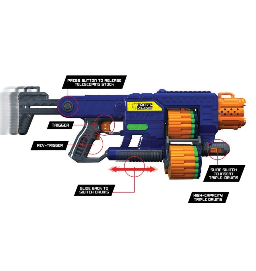 Accessories included in the Dart Zone Savage Spin Triple Drum Automatic Toy Foam Blaster