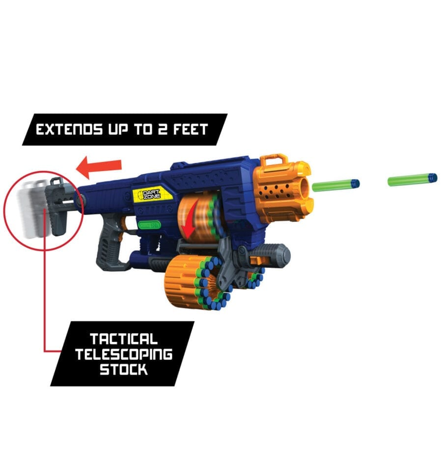 Featured Stock of the Dart Zone Savage Spin Triple Drum Automatic Toy Foam Blaster