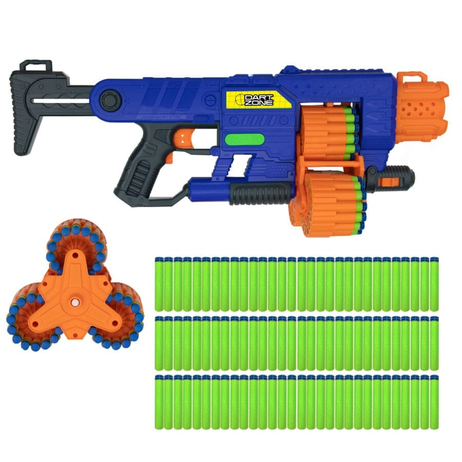Dart Zone Savage Spin Triple Drum Automatic Toy Foam Blaster with Foam Darts and Drum