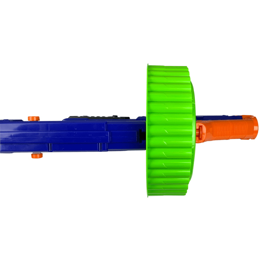 Bottom View of the Magnum X2 Superdrum Accessory for high powered toy foam dart blaster with dart blaster