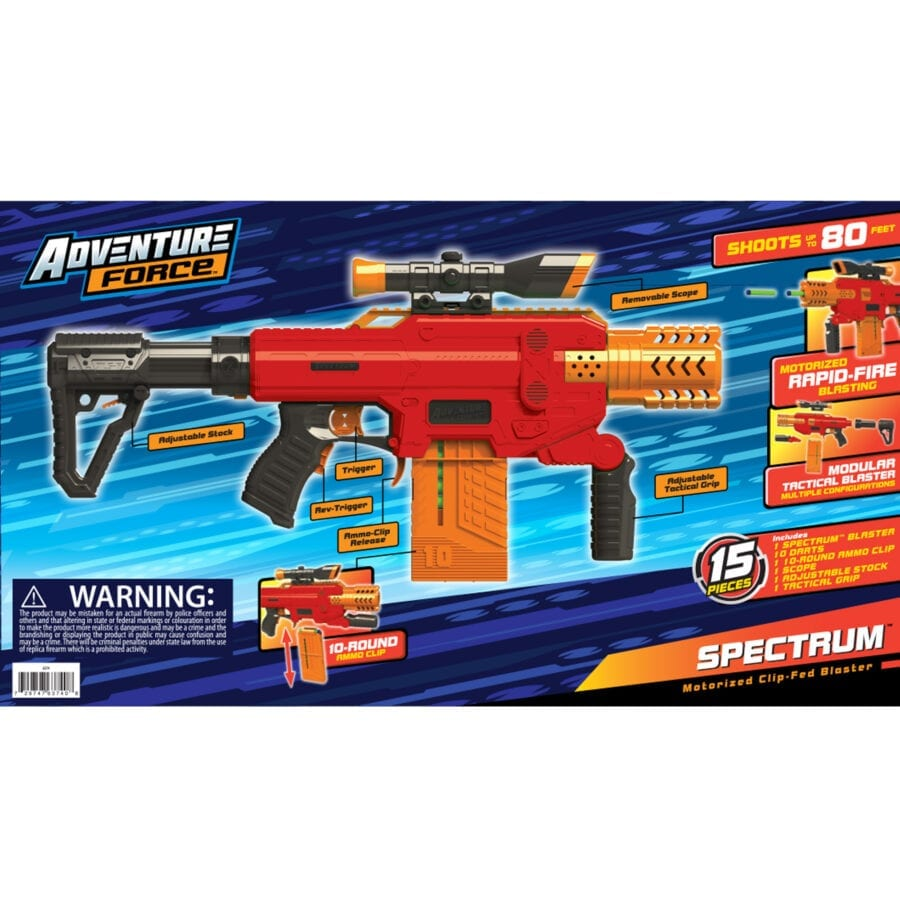 Back of the Box of the Adventure Force Spectrum Automatic High-power Toy Blaster